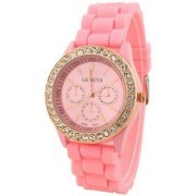 Staylish watch Diamond girls watch Pink Silicon Strap Studed Diamond Crono Pattern Dial Watch For Woman And Girl