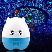 LIWUYOU Star Projector Night Light LED Creative Lovely Pig Shape USB Projection Lamp with Speaker Remote Control,Blue Green Red White Orange 5 Colors Changing,Blue