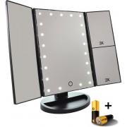 Spiegel met LED verlichting - Make-upspiegel - Zwart