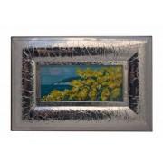 Tablou cu rama argintata peisaj Flori galbene si marea Europa Argenti 46.5x31.5 cm