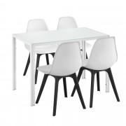 [en.casa]® Mesa de comedor Minimalista - Blanco - 105cm x 60cm x 75cm - para 4 Personas - Set de 4 x Sillas de diseño - 83cm x 54cm x 48cm - Blanco y Negro - Juego de comedor