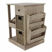 Decor Therapy Nora Natural Wood Console Accent Table, Sahara Morning/Seagrass Baskets