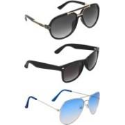 Zyaden Rectangular, Wayfarer, Aviator Sunglasses(Black, Blue, Black)