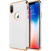 Funda Case Iphone Xs / X Piel Con Bordes Cromados - Blanco