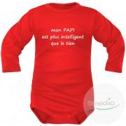 SiMEDIO Body bébé message : mon PAPI est plus intelligent que le tien - Rouge Longues 18-24 mois