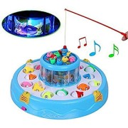 SaShi Electronic Double-Layer Rotating Fishing Toy Set with 26 Fishes, Light and Sound, 2 Rotary Fish Ponds and 4 Rods