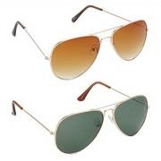 Hrinkar Brown Mirrored Aviator Unisex Sunglasses