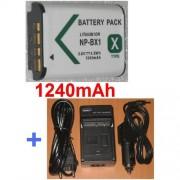 Chargeur + Batterie Pour SONY NP-BX1 NPBX1, Sony Cyber-shot DSC-RX100 DSCRX100 DSCRX100/B **1240mAh*