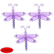 "Dragonfly Decor 3"" Purple (Lavender) Mini (X-Small) Wire Hanging Nylon Dragonflies 3pc set. Decorate Baby Nursery Bedroom, Girls Room Ceiling Wall Decor, Wedding, Birthday Party, Bridal Baby Shower, Bathroom, Crafts, Invitations, Party Decorations"