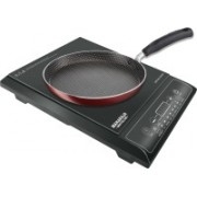 Maharaja Whiteline IC-108 Induction Cooktop (Black, Push Button) & Tefal Simply Chef Non-Stick Flat Tawa, 26cm (Rio Red)