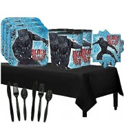 Another Dream Black Panther Birthday Party Pack for 16 with Plates, Favor Cups, Napkins, Cutlery, and Tablecover.