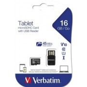 Memóriakártya, microSDHC, 16GB, CL10/U1, 45/10MB/s, USB adapter, VERBATIM Tablet (MVMS16GT)