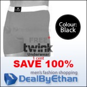 Twink Solid Long Boxer Brief FREE Men's Underwear Black
