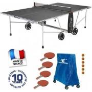 Cornilleau 100 S Crossover SZÜRKE outdoor dőjárásálló pingpong asztal családi kiegészítő csomaggal