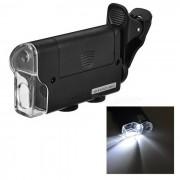 60 ~ 100X clip microscopio con luz purpura / video picturing - negro