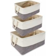 MeRaYo 26A Eco-Friendly Cloth Storage Basket Bin Organizer Set Grey (Pack of 3) MSH0026A(Grey)