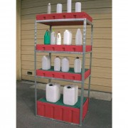 Rolléco Bac de rétention plastique pour étagère - 100 litres Sans caillebotis