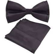 Voici France- Pre knot double layer Dark Green bow Tie with Pocket Square