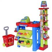 Ivation Kids Supermarket Center With Shopping Basket, Checkout Counter, Cash Register, Item Scanner, Shelves & Racks – Includes Various Pretend Foods & Play Money