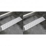 vidaXL 2 db lineáris rozsdamentes acél vonal zuhany lefolyó 530x140 mm