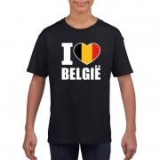 Shoppartners Zwart I love Belgie fan shirt kinderen