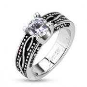 Törzsi mintás nemesacél gyűrű - fekete