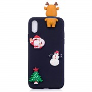 3D Paster Christmas Elk Pattern TPU Protective Case for iPhone XR(Black)