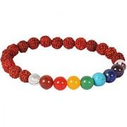 Kesar Zems Certified 8mm Beads Multicolor 7 Chakra Rudraksha Bracelet