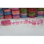 AsianHobbyCrafts Polyester Fabric Non Adhesive Laser Cut Design Ribbons Printed Multi-Colored used for Scrapbooking, Hobbycrafts, Gift-wrapping etc. Width: 1.8cm; Qty: 1 Roll per pack Length: 5 Mtrs(approx.) : pack of 1pc (Light pink Non adhesive)