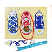Bom Tree Educational DIY Shoe Lace Tying Board Pegged Puzzles, Learn to Tie Your Laces Wooden Puzzle Peg for Kids, Lacing Sneaker Training Shoes