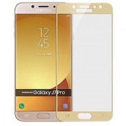 FULL GLUE (GUM) Coloured Tempered Glass for Samsung Galaxy J7 PRO (ORIGINAL 5D CURVED 9H GLASS) Full Screen Protection (GOLD)