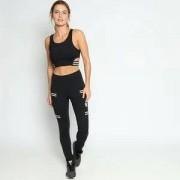 Wollner Legging Com Tiras Elásticas - Preta & Branca - Wollner