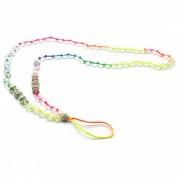 kelima cadena redonda creativa hecha a mano con cuentas colgantes para telefono movil - transparente
