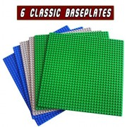 """Building Base Plates -6 set of 10"""" x 10"""" Baseplate - Compatible with All Major Brands (2 green + 2 blue + 2 Gray)"""