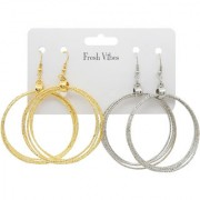 Fresh Vibes Big Multi Hoops Silver & Golden Ear Rings Combo Pack for Women