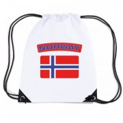 Bellatio Decorations Noorwegen nylon rugzak wit met Noorweegse vlag