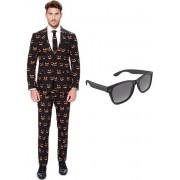Pompoen print heren kostuum / pak - maat 48 (M) met gratis zonnebril