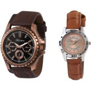 Gravity Khakhi Brown Couple Analog Watches 100
