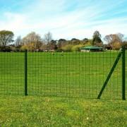 vidaXL Euro Fence Set with Ground Spikes 25x1.5 m Steel Green