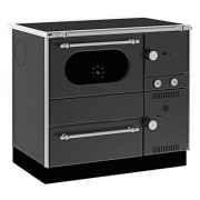 Soba de gatit cu plita si cuptor, tip centrala, Alfa Plam, AlfaTerm20, 23 kW, negru, stanga