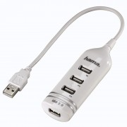 I/O, HUB 4 PORT HAMA, White, USB2.0 (39788)