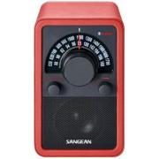 Bluetooth fa dobozos asztali rádió bőr bevonattal Sangean WR-15 BT piros