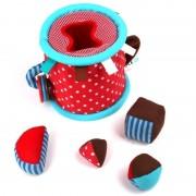 Cilindru pentru bebeluși cu activități din material textil