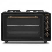 Мини готварска печка Finlux FMO-422ANTR, 42 литра обем на фурната, 2 котлона, Черен/Златист