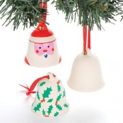 Baker Ross Ceramic Bells to Decorate - 4 Blank Ceramic Bells perfect to make your own Christmas tree decorations. Bell size 54mm x 54mm
