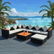 vidaXL Set mobilier de grădină 22 piese, poliratan, blat WPC, negru