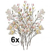 Bellatio flowers & plants 6x Creme Magnolia kunstbloemen tak 105 cm