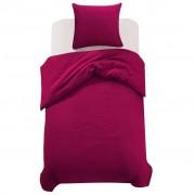 vidaXL Комплект спално бельо от 2 части, бордо, 140x220/60x70 см
