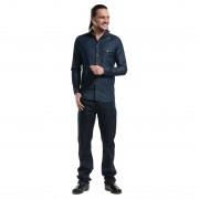 Chaud Devant Blue Denim Stretch heren blouse 3XL - XXXL