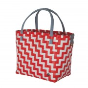 Handed By Shopper Waves coral red white